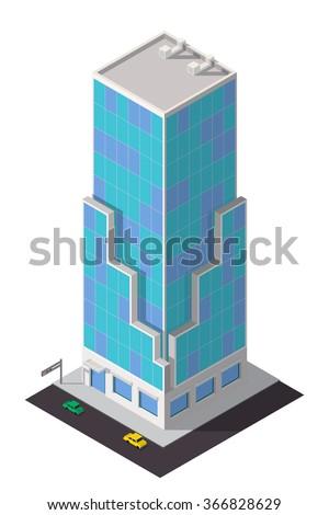 Vector isometric skyscraper. City map building 3d element. - stock vector