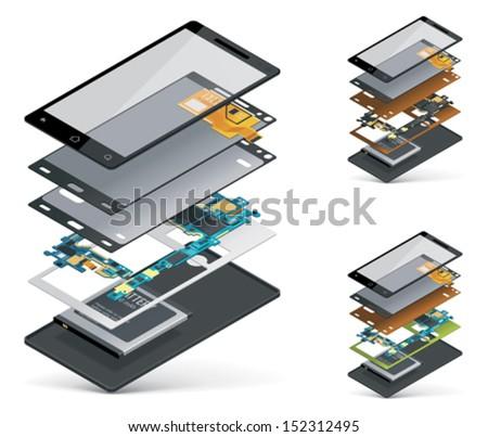Vector isometric smartphone cutaway  - stock vector