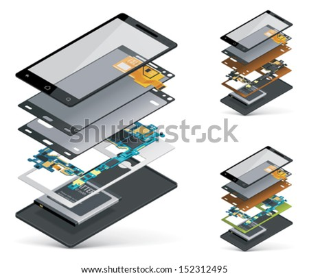 Vector isometric smartphone cutaway showing inner parts and hardware - touchscreen, motherboard, battery etc - stock vector