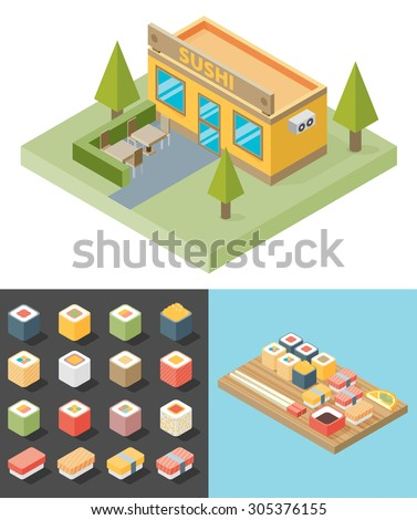 Vector isometric sushi restaurant cafe building icon. Icons Sushi. Tray. - stock vector