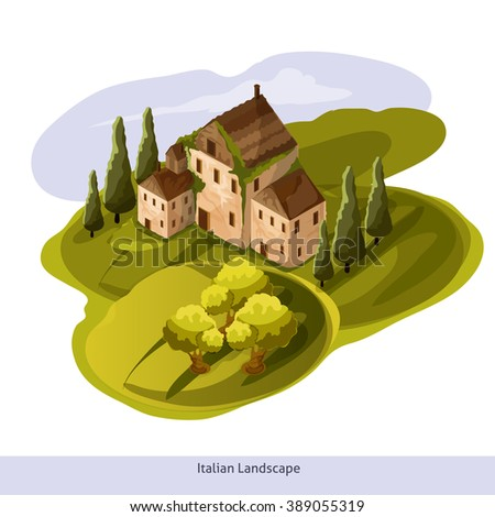 Vector isometric Toscana landscape. 3D Game platform with buildings and trees elements. Isometric landscape illustration.-stock vector