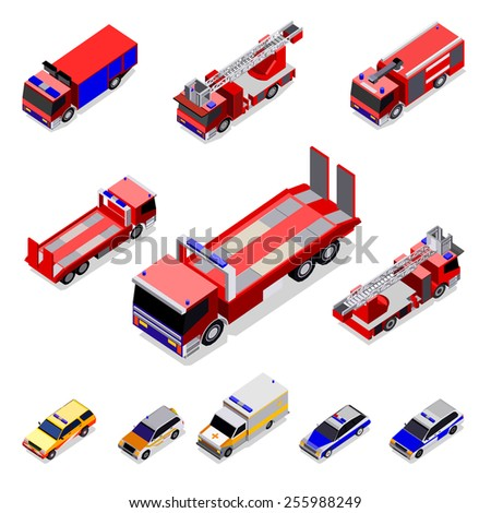Vector isometric transport. Trucks and car - stock vector