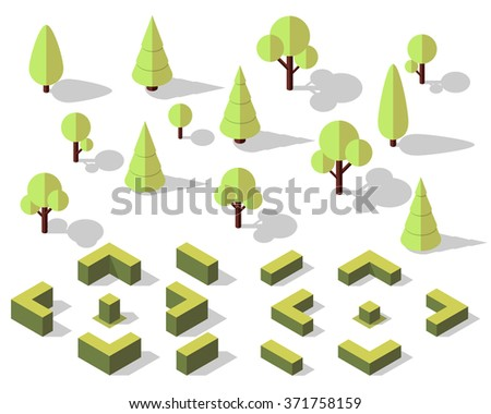 Vector isometric trees elements for landscape design. - stock vector