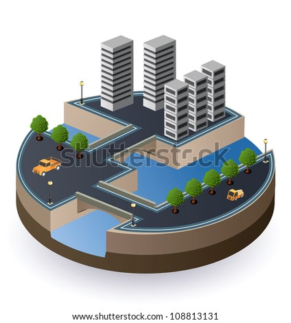 Vector isometric view of the city - stock vector