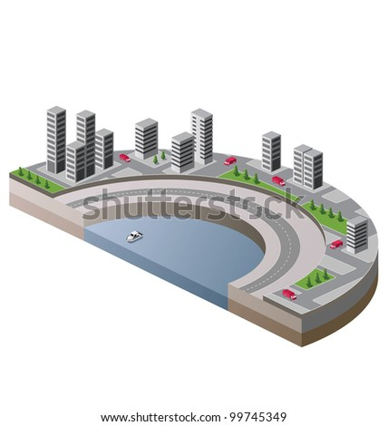 Vector isometric view of the city to the quay and the ship - stock vector