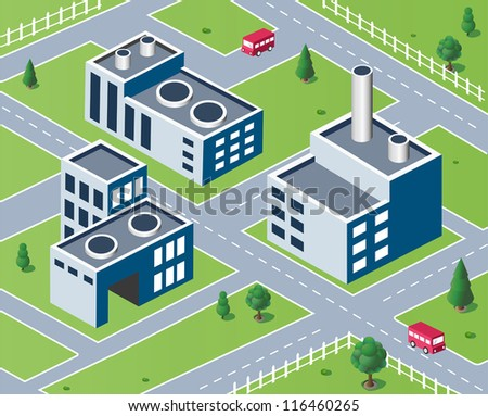 Vector isometric view of the industrial district - stock vector