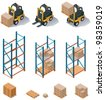 Vector isometric warehouse equipment icon set - forklift carrying pallets with boxes, storehouse shelves - stock photo