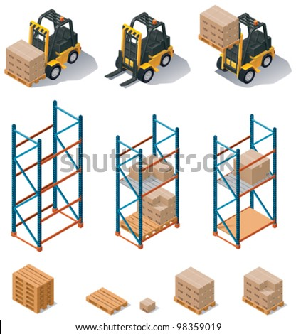 Vector isometric warehouse equipment icon set - forklift carrying pallets with boxes, storehouse shelves - stock vector