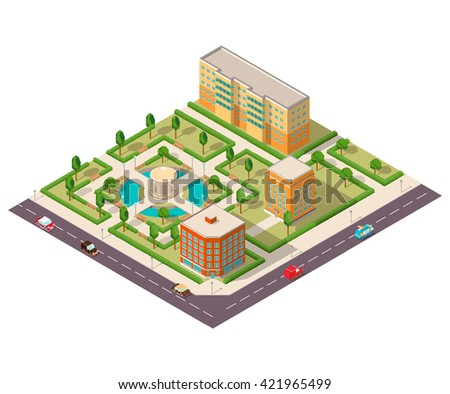 Vector isometric with the image of houses of park with trees and roads with cars