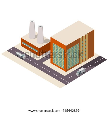 Vector isometric with the image of the building of factory with cars - stock vector