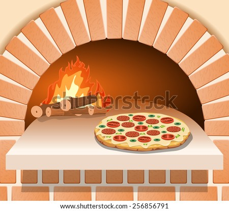 Vector Italian pizza with tomato, sausage and mushrooms in front of the oven - stock vector