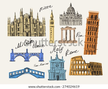 vector Italy and landmark architecture vector set - stock vector