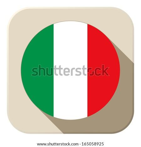 Vector - Italy Flag Button Icon Modern - stock vector