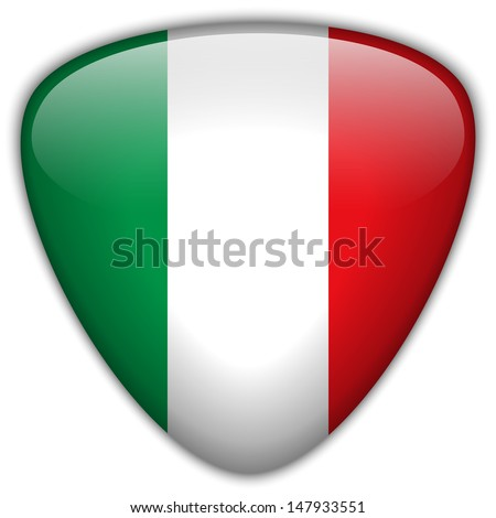 Vector - Italy Flag Glossy Button - stock vector