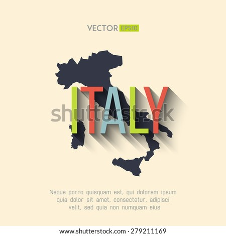 Vector italy map in flat design. Italian border and country name with long shadow. - stock vector