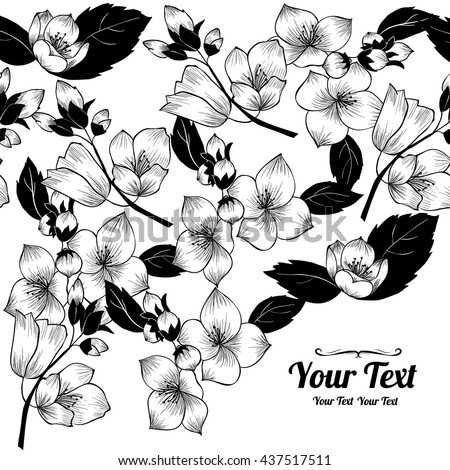 Vector jasmine flowers frame corner pattern . Invitation or greeting card design.Vector illustration