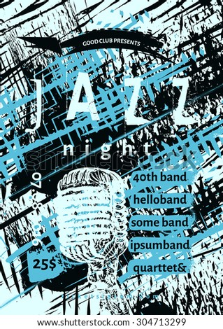 Vector jazz, rock or blues music poster template. Hand painted stains and microphone. Abstract background for card, flyer, leaflet, brochure, banner, web design. - stock vector