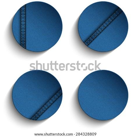 Vector - Jeans Circle Blue Denim Button - stock vector