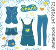 Vector  jeans  clothes  set - stock