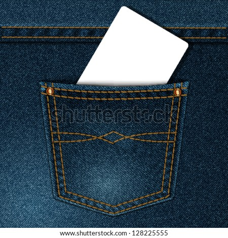 vector jeans pocket with a credit card or calling card - stock vector