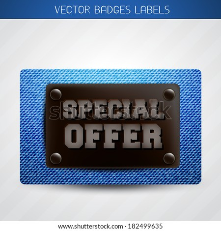 vector jeans special offer label design - stock vector