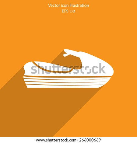 Vector jet scooter flat icon illustration. - stock vector