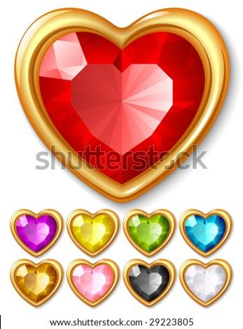 Vector jewel hearts - stock vector