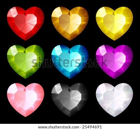 Vector jewel set. Hearts - stock vector