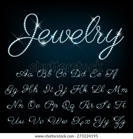 Vector jewelry alphabet. - stock vector