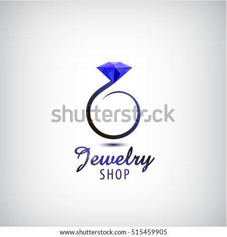 Vector jewelry logo design template. Circle ring with blue stone, crystal. Wedding ring