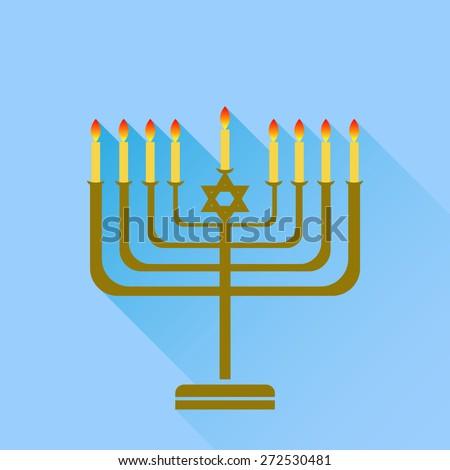 Vector Jewish Holiday Hanukkah. Menorah Burning Candles Isolated on Blue Background. - stock vector