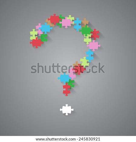 Vector jigsaw abstract with question mark - stock vector