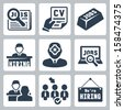 Vector job hunting, job search, human resources icons set - stock vector