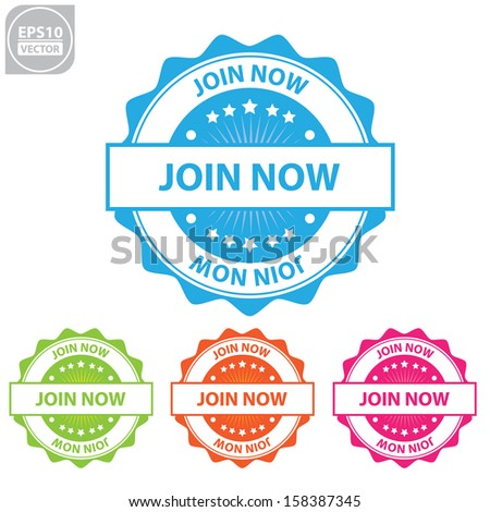 Vector : join now colorful sticker