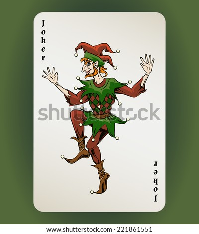 Vector Joker playing card, colored jester on white background - stock vector