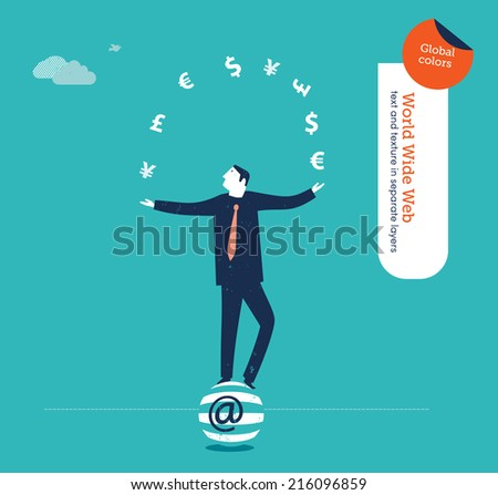 Vector juggler with currency signs. Vector illustration Eps10 file. Global colors. Text and Texture in separate layers. - stock vector