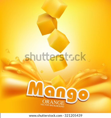 Vector juicy mango slices falling into the fresh juice - stock vector
