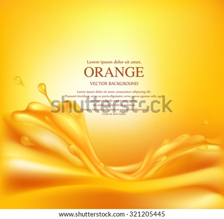Vector juicy orange background with splashes of juice - stock vector