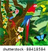 Vector Jungle with Parrot and Butterflies - stock photo