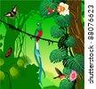 Vector Jungle with quetzal, humming-birds and butterflies - stock vector
