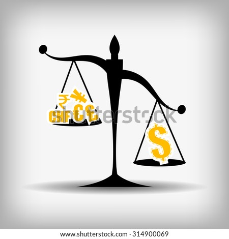Vector : Justice scales between dollar and other currency - stock vector