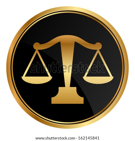 Vector justice scales icon - stock vector
