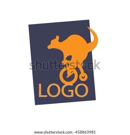 Vector Kangaroo on a bike LOGO template. Good as active creative logo for tourism agency, fitness club, bicycle rental company, sport equipment, fashion clothes, sportswear, healthy food. - stock vector