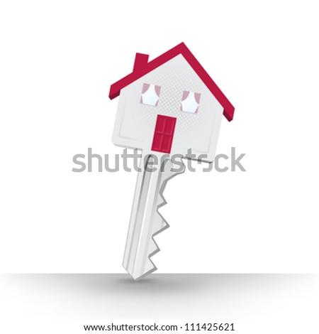 Vector key home house - stock vector