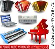 vector keyboard music icons - stock photo