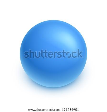 Vector kids blue rubber ball. - stock vector