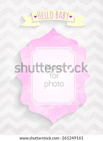 Vector kids girl page Hello baby! with photo watercolor  frame for scrapbooking album - stock vector