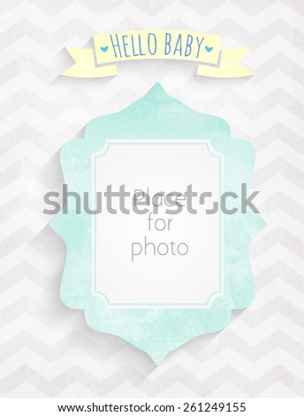 Vector kids page Hello baby! with photo watercolor  frame for scrapbooking album - stock vector