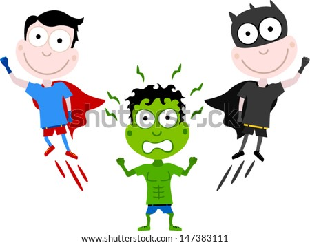 vector kids superhero - Separate layers for easy editing - stock vector