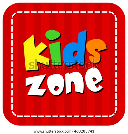 Vector Kids Zone Banner Design Isolated on White Background